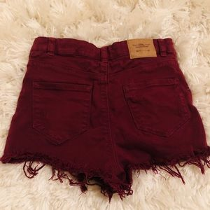 clockhouse Shorts - Maroon High Waisted Shorts from Paris
